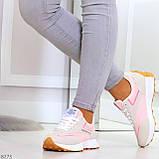 Розовые серые текстильные женские замшевые кроссовки с рефлективными вставками 40-25см, фото 4