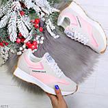 Розовые серые текстильные женские замшевые кроссовки с рефлективными вставками 40-25см, фото 8