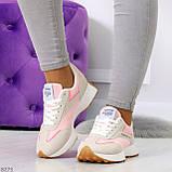 Розовые серые текстильные женские замшевые кроссовки с рефлективными вставками 40-25см, фото 9