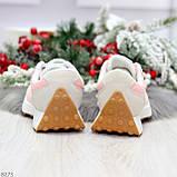 Розовые серые текстильные женские замшевые кроссовки с рефлективными вставками 40-25см, фото 10