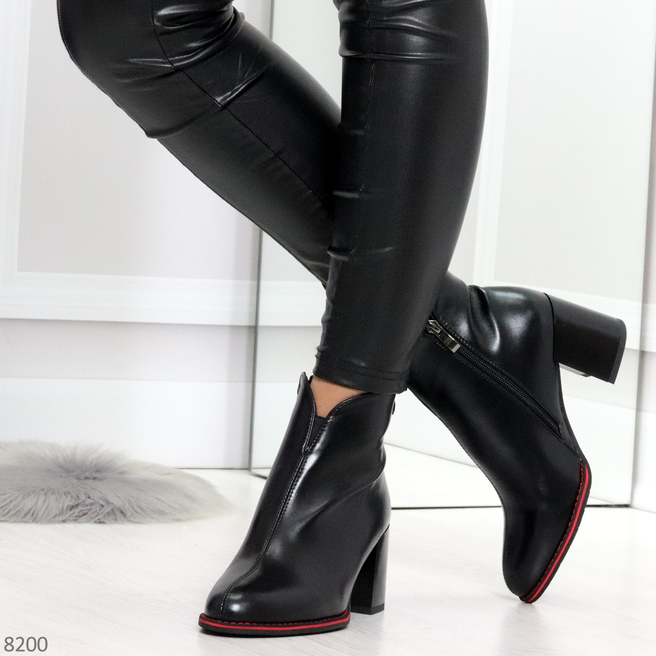 Элегантные повседневные черные женские ботинки ботильоны на флисе