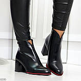 Элегантные повседневные черные женские ботинки ботильоны на флисе, фото 2