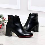 Элегантные повседневные черные женские ботинки ботильоны на флисе, фото 4