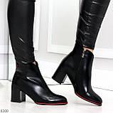 Элегантные повседневные черные женские ботинки ботильоны на флисе, фото 6