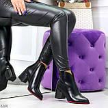 Элегантные повседневные черные женские ботинки ботильоны на флисе, фото 9