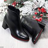 Элегантные повседневные черные женские ботинки ботильоны на флисе, фото 10