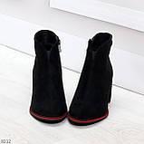 Элегантные замшевые черные женские ботинки ботильоны на флисе, фото 2