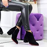 Элегантные замшевые черные женские ботинки ботильоны на флисе, фото 7