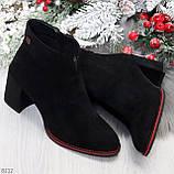 Элегантные замшевые черные женские ботинки ботильоны на флисе, фото 9