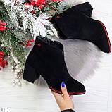 Элегантные замшевые черные женские ботинки ботильоны на флисе, фото 10