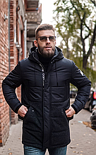 Мужская куртка пуховик ZD-02 черный длинный зима 2021