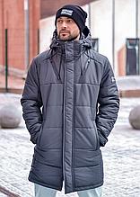 Мужская куртка пуховик WL-2001 серый длинный зима 2021