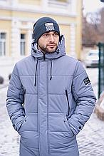 Мужская куртка пуховик Б-6 серый зима 2021
