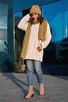 Комплект женский зимний: шапка  двойная и длинный шарф с бубонами, фото 3