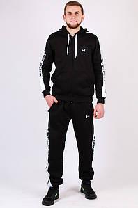Спортивный костюм на флисе мужской черный AAA 010-1