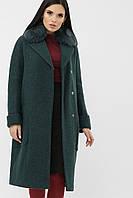 Зимнее женское прямое пальто с воротником из меха и утеплителем, размер от 42 до 48
