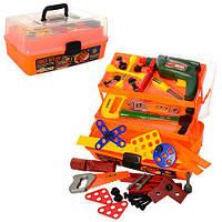 Набір інструментів 2108 49 шт, дриль, викрутки, ключі, пила, болти, ящик, 37-17-18,5 см., фото 1