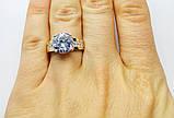 Серебряное кольцо с золотом и цирконом Легенда, фото 4
