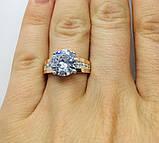Серебряное кольцо с золотом и цирконом Легенда, фото 5