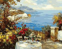 Картина рисование по номерам Mariposa Завтрак на терассе MR-Q2135 40х50 см Море, морской пейзаж, корабли набор