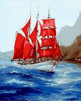 Картина рисование по номерам Mariposa Под алыми парусами MR-Q1745 40х50 см Море, морской пейзаж, корабли набор