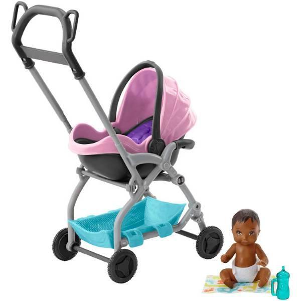 Barbie барби Коляска-переноска с малышом розовая FXG95 Skipper Babysitters Stroller