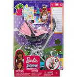 Barbie барби Коляска-переноска с малышом розовая FXG95 Skipper Babysitters Stroller, фото 3
