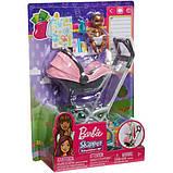 Barbie барби Коляска-переноска с малышом розовая FXG95 Skipper Babysitters Stroller, фото 4