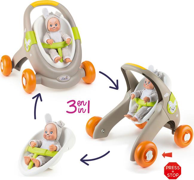 Smoby Ходунки коляска для куклы пупса 3 в 1 Миникисс Веселые животные 210206 baby walker Mini Kiss