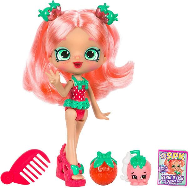 Shopkins Shoppie Кукла Клубничка Берри Три Пляжный стиль 57249 Berri D'lish Doll Beach Style Single Pack