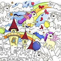 Плакат-розмальовка Єдиноріжки, Розмальовки для дітей/ магазин Gipo