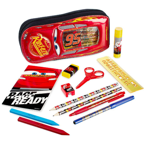 Disney Store Пенал школьный машинка Тачки Макквин с наполнением Cars Zip-Up Stationery Kit