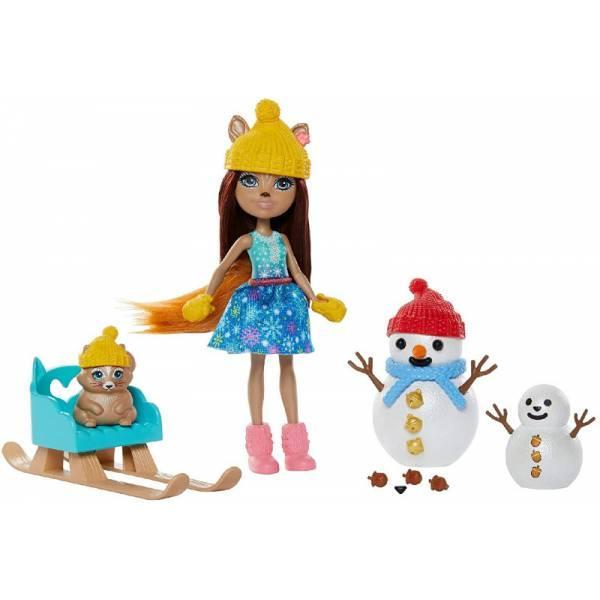 Enchantimals Встреча со снеговиком зимняя белка Шарлота GNP16 Snowman Face-Off with Sharlotte Squirrel Walnu