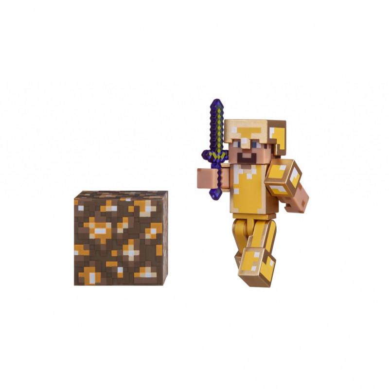 Minecraft S3 Майнкрафт фигурка Стив в золотой броне 16488 Steve in Gold Armor Figure Pack