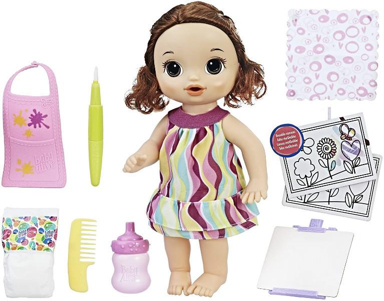 Baby Alive Интерактивная кукла пупс Рисование Finger Paint Baby Brown Hair
