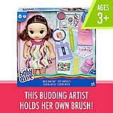 Baby Alive Интерактивная кукла пупс Рисование Finger Paint Baby Brown Hair, фото 5