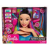 Barbie Барби радужная голова манекен для причесок и маникюра азиатка Deluxe Sparkle Deluxe Styling Head Black, фото 2