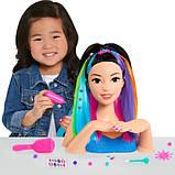 Barbie Барби радужная голова манекен для причесок и маникюра азиатка Deluxe Sparkle Deluxe Styling Head Black, фото 3