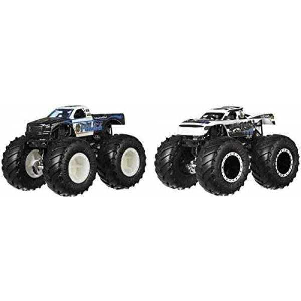 Hot Wheels Monster trucks Набор внедорожников 1:64 Scale Police vs Hooligan gigant wheels