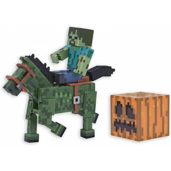 Minecraft S4 Майнкрафт фигурка Зомби и Зомбилошади 16603 Zombie with Zombie Horse