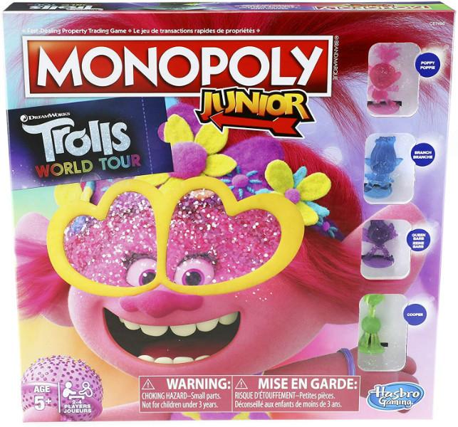 Hasbro Настольная игра Монополия тролли Мировой тур E7496 Monopoly Junior DreamWorks Trolls World Tour Edition