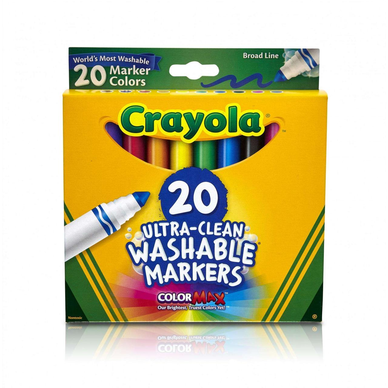Crayola смываемые маркеры фломастеры 20 штук 20 Count Classic Ultra-Clean Washable Broad Line Markers