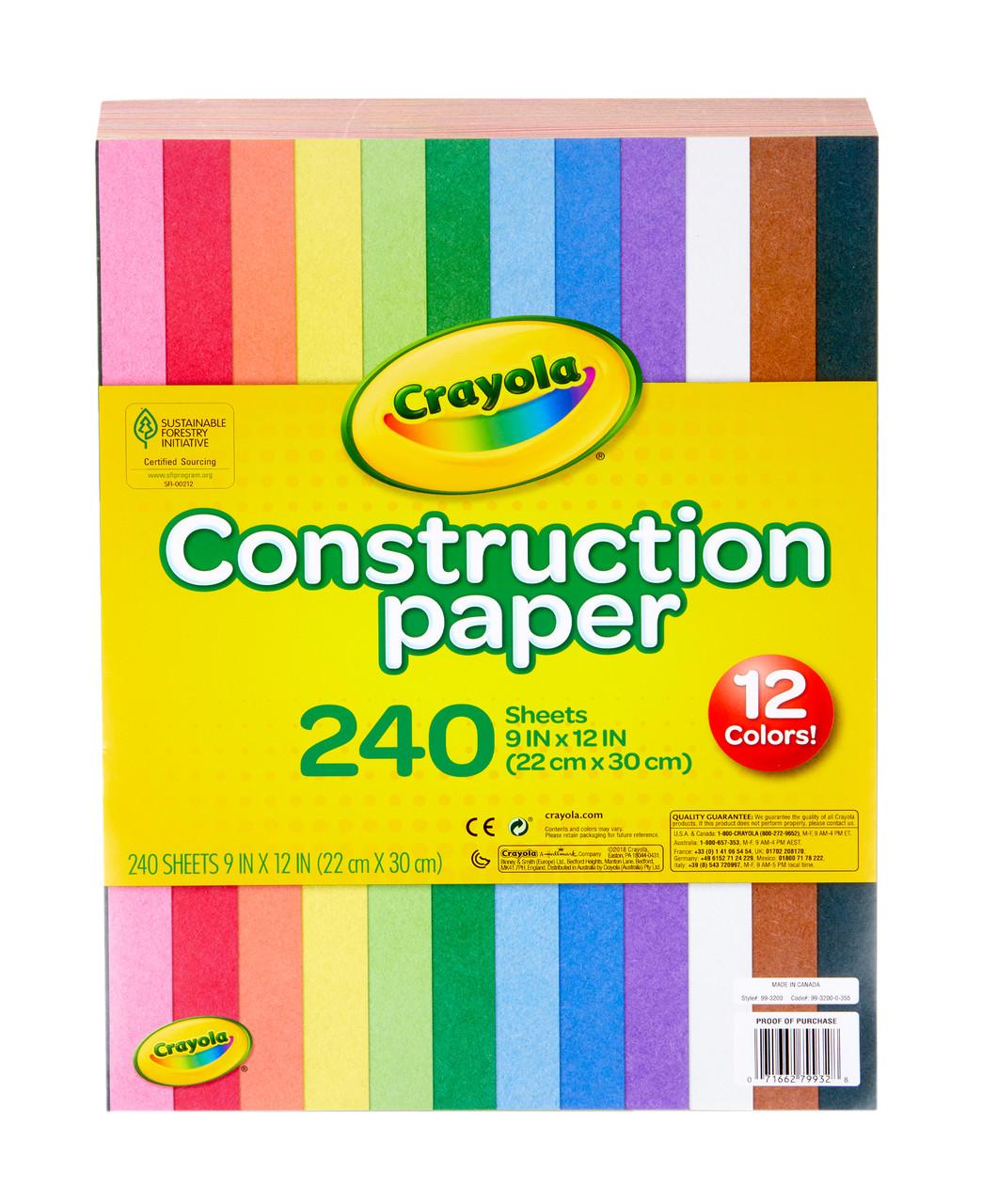 Crayola двосторонній кольоровий папір для конструювання 240шт 12 кольорів Construction Paper in 12 Colors 240