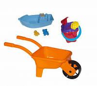 Тачка с лодочкой и песочным набором (оранжевая) KW-01-127
