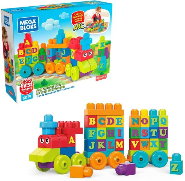 Mega Bloks Конструктор Поезд алфавит DXH35 Building Basics ABC Learning Train