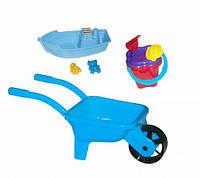 Тачка с лодочкой и песочным набором (голубая) KW-01-127
