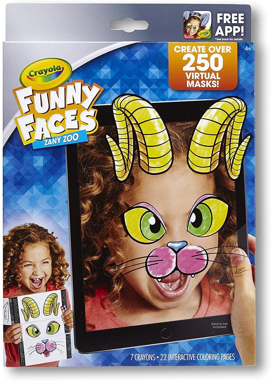 Crayola Интерактивная раскраска Смешные Лица животные 95-0292 Funny Faces Zany Zoo Coloring Book