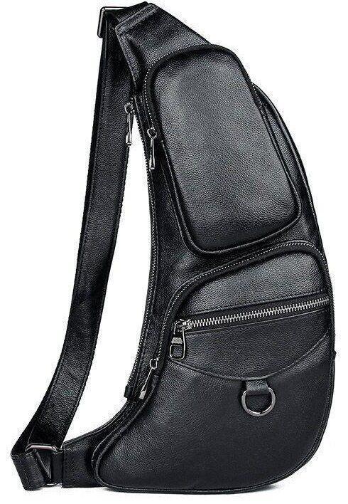 Сумка для мужчин слинг через плечо в гладкой коже Vintage 20204 Черная