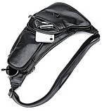 Сумка для мужчин слинг через плечо в гладкой коже Vintage 20204 Черная, фото 7