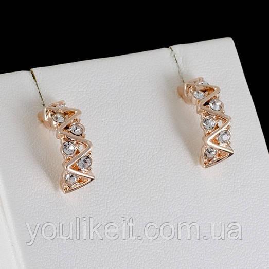 Сногсшибательные серьги с кристаллами Swarovski, покрытые золотом 0588 - YouLikeIt - интернет-магазин ювелирной бижутерии в Львовской области